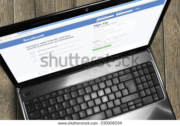 Port-Louis, Mauritius - October 15 2015 Facebook login on laptop screen, Facebook is an online social networking service