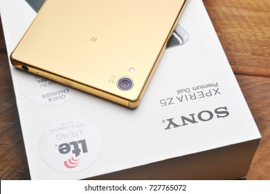 Port-Louis, Mauritius - September 22, 2017: Sony Xperia z5 Premium Gold Edition, with a 4k display. A product of Sony.