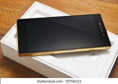 Port-Louis, Mauritius - September 22, 2017: Sony Xperia z5 Premium Gold Edition, first android phone with a 4k display. A product of Sony.