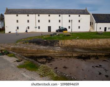 PORTMAHOMACK, SCOTLAND, UK - May 19, 2018: General view of the sea front in the fishing village of Portmahomack, Scotland, UK