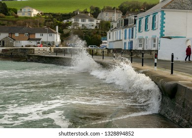 Portmellon, St Austell, Cornwall, UK. 03/03/2019. Waves kicked up by storm Freya crash into the sea defences in Cornwall.