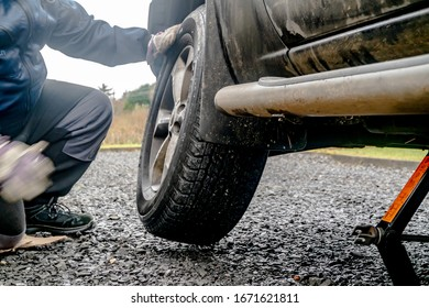 PORTNOO, COUNTY DONEGAL - JANUARY 24 2020 - Flat tyre due to screw.