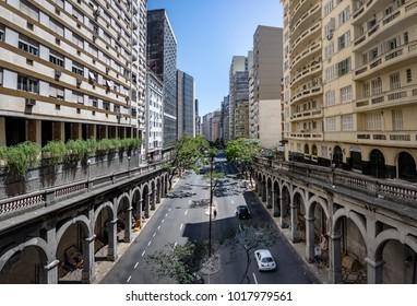 Porto Alegre, Brazil - Jan 19, 2018: Otavio Rocha viaduct over Borges de Medeiros Avenue in downtown Porto Alegre city - Porto Alegre, Rio Grande do Sul, Brazil