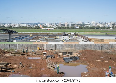 PORTO ALEGRE, BRAZIL - JULY 25: The city's airport expansion was intended for the World Cup, but industrial actions set the new completion forecast to 2016. July 25, 2014 in Porto Alegre, Brazil.