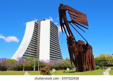 PORTO ALEGRE  BRAZIL - NOVEMBER 19, 2020: Acorianos Monument and CAF building at Acorianos Square in the historic center.