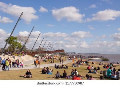 PORTO ALEGRE, BRAZIL - September 09, 2018: People enjoying a sunny day in the revitalized Guaiba waterfront in Porto Alegre, southern Brazil