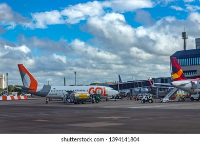 Porto Alegre city, Rio Grande do Sul state of Brazil, South America. 03/28/2019 Gol Airline. Plane of the company Gol Airline in the Salgado Filho International Airport.