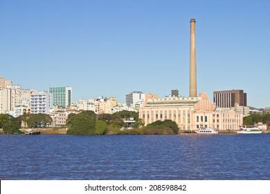 Porto Alegre city view - Gasometro Gas Plant and Guaiba river, Rio Grande do Sul, Brazil.