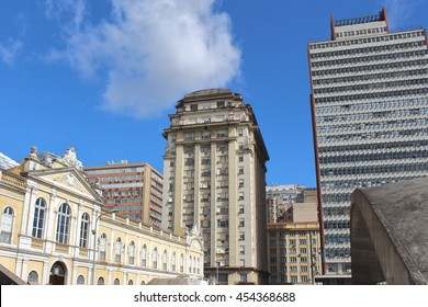 Porto Alegre Downtown. The Public Market building on the left of the photo