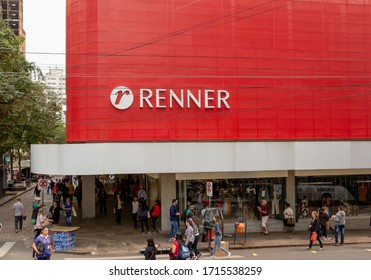 Porto Alegre, Rio Grande do Sul / Brazil - September 10, 2019. Commerce and services in the brazilian city. Facade of Renner branch. Department franchise store, advertising sign and logo.