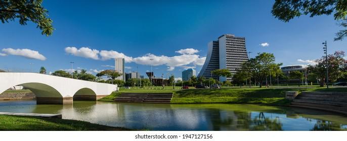 Porto Alegre, Rio Grande do Sul, Brazil, March 29 - 2021: Beautiful photograph of the square of the Azoreans, bridge and monument to the Azoreans on a sunny day.