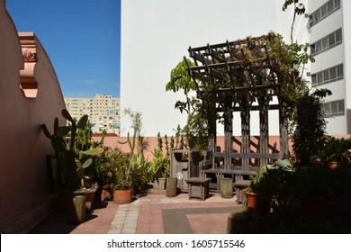 Porto Alegre,Rio Grande do Sul,Brazil : 12 /12/2019: The terrace in the Casa de Cultura Mario Quintana (CCMQ - Mario Quintana House of Culture), originally Hotel Majestic