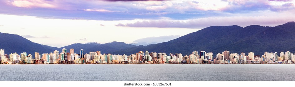 Porto Belo, Santa Catarina, Brazil - February 22th, 2018: Panoramic view of de city of Itajai, Santa Catarina.
