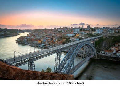 Porto by night. Cityscape over the Douro River and Dom Luis Bridge