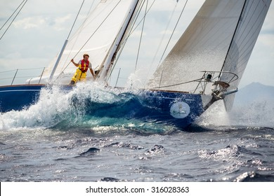 PORTO CERVO - 8 SEPTEMBER: Maxi Yacht Rolex Cup sail boat race. The event is one of international sailing's most important and revered competitions. on September 8 2015 in Porto Cervo, Italy