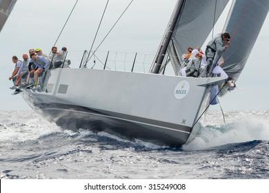 PORTO CERVO - 9 SEPTEMBER: Maxi Yacht Rolex Cup sail boat race, on September 9 2015 in Porto Cervo, Italy