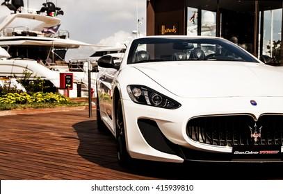 PORTO CERVO, ITALY - AUGUST 15: 2014 Maserati Gran Cabrio