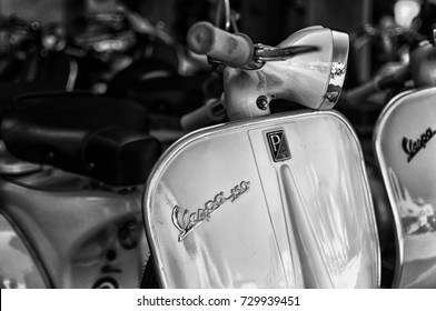 Porto Cervo, Italy - August 18, 2017: Piaggio Vespa vintage sprint motor scooter
