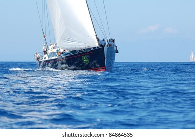 PORTO CERVO, ITALY - SEPTEMBER 10: Participant in the Maxi Yacht Rolex Cup boat race (Team unidentified), on September 10,2011 in Porto Cervo, Italy