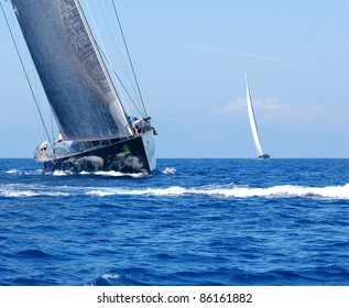 PORTO CERVO, ITALY - SEPTEMBER 10: Participants in the Maxi Yacht Rolex Cup boat race (Team unidentified), on September 10,2011 in Porto Cervo, Italy