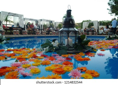 Porto Cervo, Olbia, Sardinia / Italy - 07/25/2004 : The pool of the Flavio Briatore Billionaire club with the Renault F1