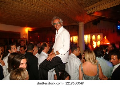 Porto Cervo, Olbia/Italy - 08/08/2004: Flavio Briatore in his local Billionaire club in Porto Cervo, Sardinia island