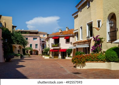 Porto Cervo old town central square with traditional architecture Sardinian houses. Sardinia island, Italy.