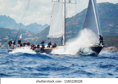 Porto Cervo, Sardinia,  ITALY - 8 SEPTEMBER 2015: Maxi Yacht Rolex Cup sail boat race. The event is one of international sailing's most important and revered competitions.