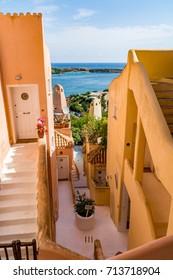 Porto Cervo, Sardinia, Italy - July 20, 2017: Colorful buildings in Porto Cervo, a famous tourist resort in Costa Smeralda