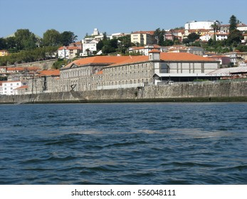 PORTO city in PORTUGAL, historic houses at Douro river cityscape landscape in second largest iberian travel OPORTO city in country with clear blue sky in warm sunny autumn day, EUROPE on OCTOBER 2014.
