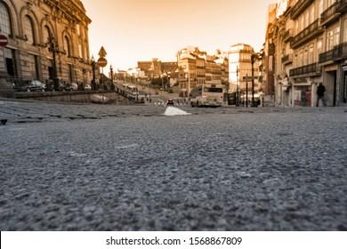 Porto city street in morning light.