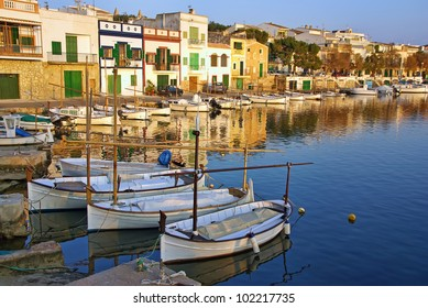 Porto Colom village in Majorca at sunset (Balearic Islands - Spain)