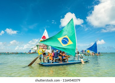 Porto de Galinhas, Ipojuca, Pernambuco, Brazil - January, 2018: Porto de Galinhas is one of the most beautiful beaches in the world, where you can take a raft and go visit natural pools