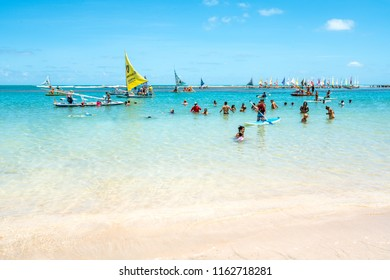 Porto de Galinhas, Pernambuco, Ipojuca, Brazil - January, 2018: one of the most beautiful beaches in the world, where you can take a raft and go visit natural pools on the coast of Pernambuco