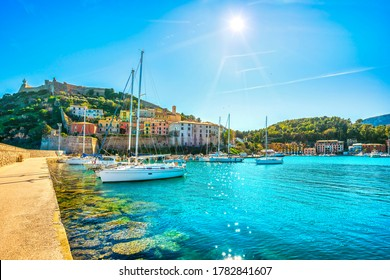 Porto Ercole village and boats in the harbour. Monte Argentario, Maremma Grosseto Tuscany, Italy