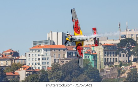 Porto & Gaia, Portugal - September 3, 2017: Red Bull Air Race, Raicing Day, Pilot: Kirby Chambliss from USA Team Chambliss.