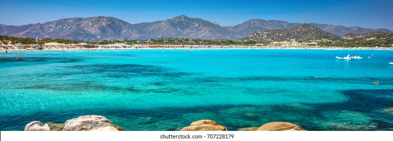 Porto Giunco beach, Villasimius, Sardinia, Italy. Sardinia is the second largest island in the Mediterranean Sea