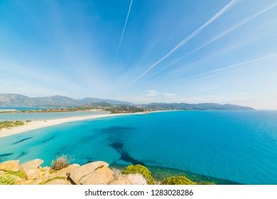 Porto Giunco coastline seen from above. Villasimius, Sardinia