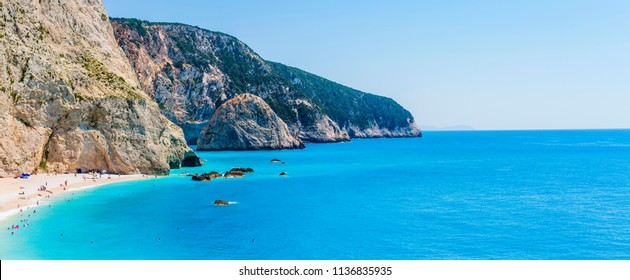 Porto Katsiki beach coast on Lefkada island in Greece, Ionian Sea.