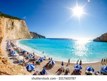 Porto Katsiki Beach in  Lefkada Island, Greece. HDR image