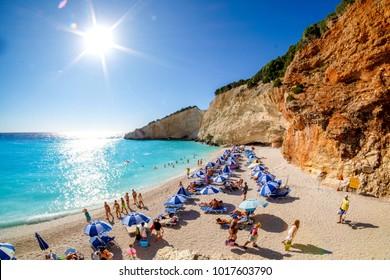 Porto Katsiki Beach in  Lefkada Island, Greece. HDR panorama image