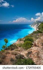 Porto Katsiki, the famous beach, with turquoise water of the Mediteranean sea and white cliffs,