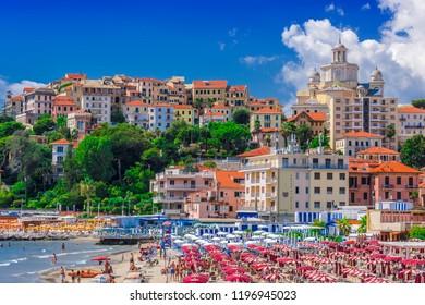 PORTO MAURIZIO, ITALY - SEP 4, 2018: View of Porto Maurizio on the Italian Riviera in the province of Imperia, Liguria, Italy