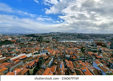 Porto old town aerial view with colorful houses from Clerigos Tower, in Porto Portugal