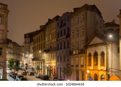 Porto Old Town street at night. Portugal