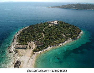 Porto Palermo Castle on island with beautiful Mediterranean water adriatic sea in Himara, Albania coast.