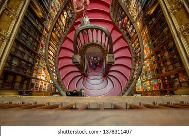 "Porto, Portugal 04.20.2019 the ""livrarian lello"" library and book store what become famous from Harry Potter novels, documentary"