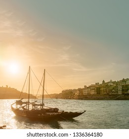Porto, Portugal 05 13 2018 old town cityscape on the Douro River with traditional Rabelo boats