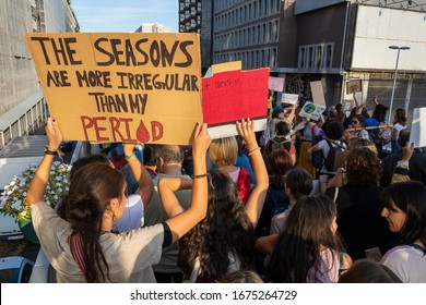 Porto, Portugal - 09/27/2019: People with placards and posters on global strike for climate change.