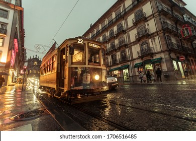 PORTO / Portugal - 11/07/2019: One of the only six electric trams that still circulate in the city of Porto. A very charming tour through the streets of this historic destination in Portugal.